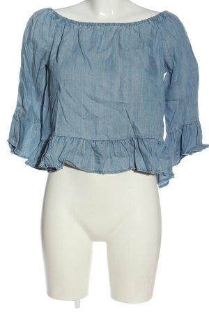 Only Rüschen-Bluse blau Casual-Look