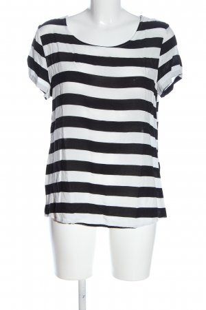 Only Kurzarm-Bluse weiß-schwarz Streifenmuster Casual-Look