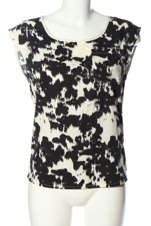 Only Blusa de manga corta negro-blanco puro estampado con diseño abstracto