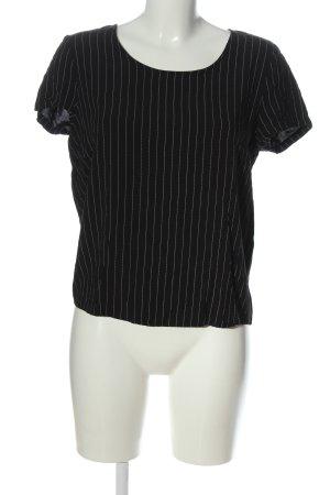 Only Kurzarm-Bluse schwarz-weiß Streifenmuster Casual-Look
