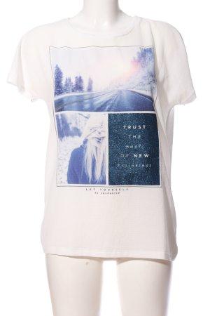 Only Kurzarm-Bluse weiß-blau Motivdruck Casual-Look