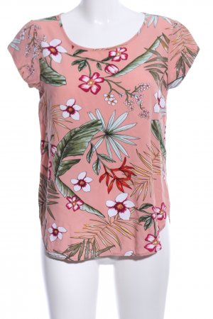 Only Kurzarm-Bluse pink Blumenmuster Casual-Look