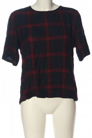Only Kurzarm-Bluse schwarz-rot Karomuster Casual-Look