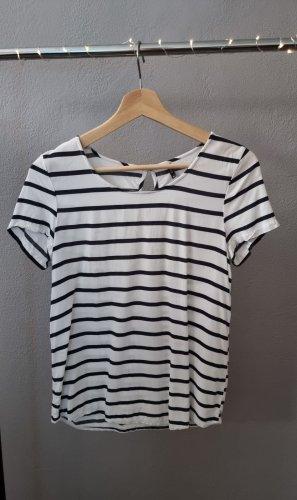 Only kurzarm Shirt Blouse Bluse Blusenshirt Viskose weiß schwarz gestreift