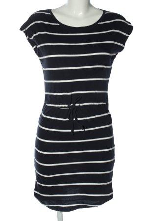 Only Kurzarmkleid schwarz-weiß Streifenmuster Casual-Look