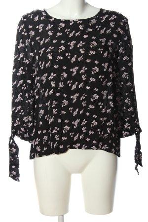 Only Langarm-Bluse schwarz-pink Blumenmuster Casual-Look