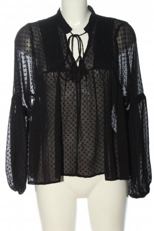 Only Langarm-Bluse schwarz Allover-Druck Casual-Look