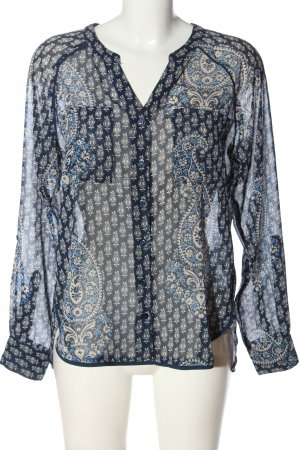 Only Langarm-Bluse blau-wollweiß abstraktes Muster Casual-Look