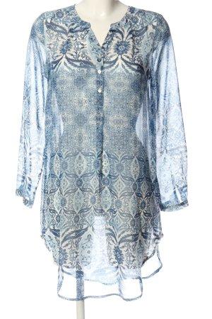 Only Langarm-Bluse blau-weiß abstraktes Muster Casual-Look