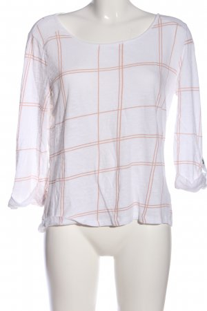 Only Langarm-Bluse weiß-nude Karomuster Casual-Look