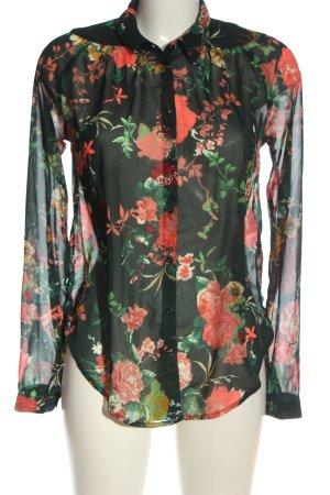 Only Langarmhemd schwarz-rot Blumenmuster Business-Look