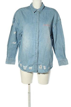 Only Langarmhemd blau-pink Schriftzug gedruckt Casual-Look