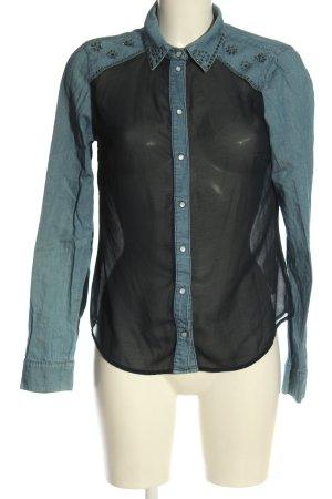 Only Langarmhemd blau-schwarz Jeans-Optik