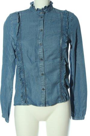 Only Camisa de manga larga azul look casual