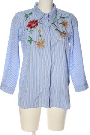Only Langarmhemd blau-weiß Blumenmuster Business-Look