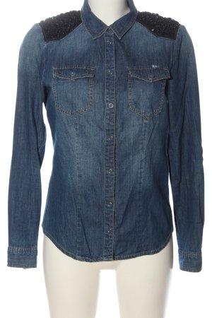 Only Langarmhemd blau-schwarz Casual-Look