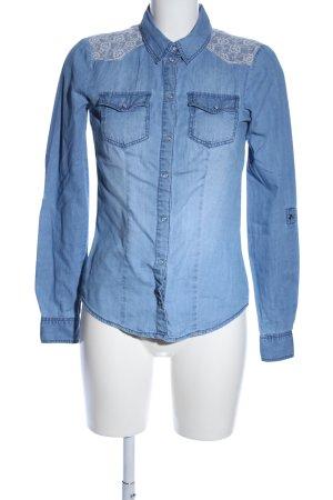 Only Langarmhemd blau-weiß Casual-Look