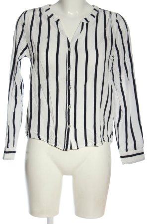 Only Langarmhemd weiß-schwarz Streifenmuster Casual-Look