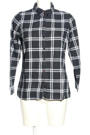 Only Langarmhemd schwarz-weiß Karomuster Casual-Look