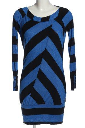 Only Langarmkleid blau-schwarz Streifenmuster Elegant
