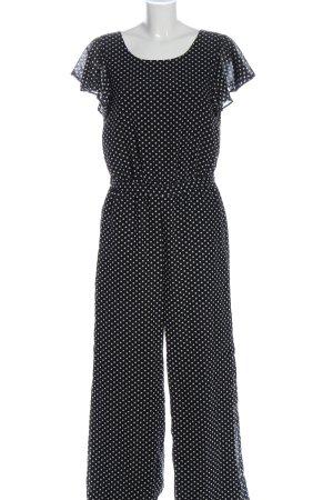 Only Langer Jumpsuit schwarz-weiß Allover-Druck Elegant