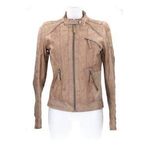 Only Giacca da motociclista beige-marrone-grigio Pelle