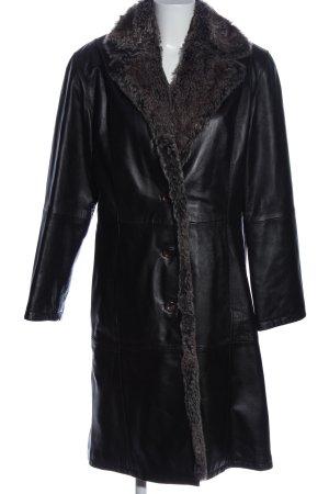 Only Manteau en cuir noir cuir