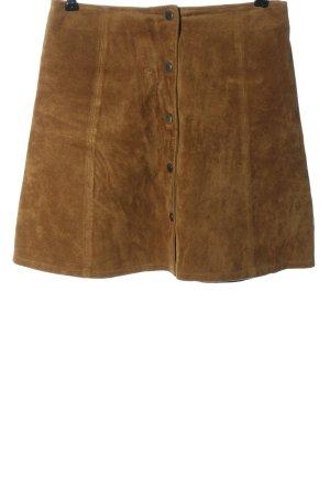 Only Falda de cuero marrón look casual