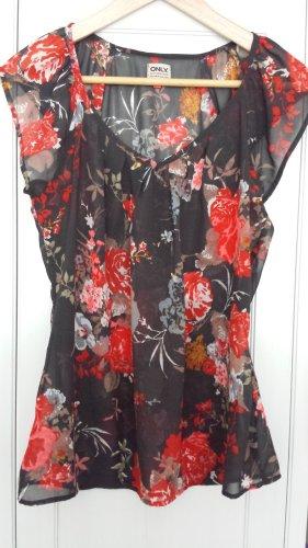 ONLY | leichte Bluse in Schwarz mit Blumenmuster