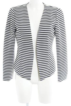 Only Long-Blazer weiß-schwarz Streifenmuster schlichter Stil