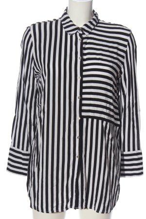 Only Long-Bluse schwarz-weiß Streifenmuster Casual-Look