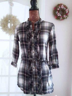 ONLY Long Bluse Tunika mit Rüschen kariert schwarz weiß Gr.S