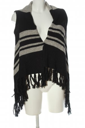 Only Long Knitted Vest black-natural white striped pattern casual look