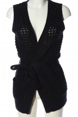 Only Long Knitted Vest black cable stitch casual look