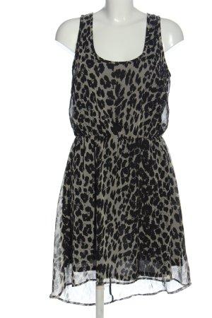 Only Szyfonowa sukienka jasnoszary-czarny Zwierzęcy wzór W stylu casual