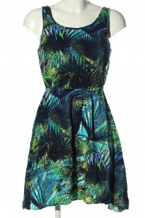 Only Minikleid blau-grün Allover-Druck Casual-Look