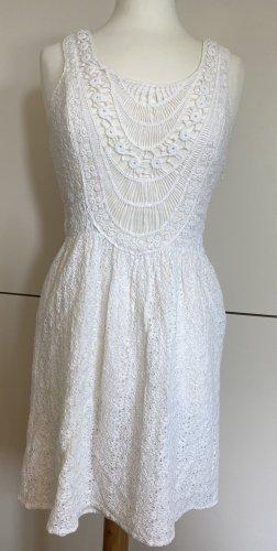 ONLY Minikleid S 36 weiss Mini Kleid Stickerei Spitze Boho
