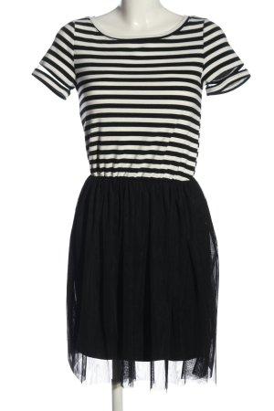 Only Minikleid weiß-schwarz Streifenmuster Casual-Look