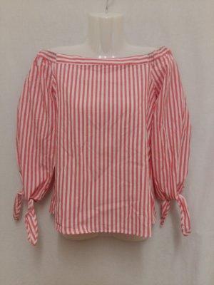 Only Bluzka typu carmen biały-różowy Bawełna