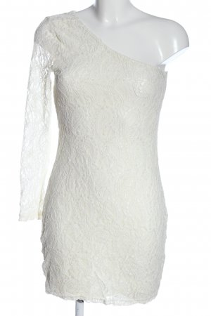 Only One-Shoulder-Kleid weiß Webmuster Casual-Look