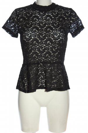 Only One Lace Blouse black mixed pattern elegant