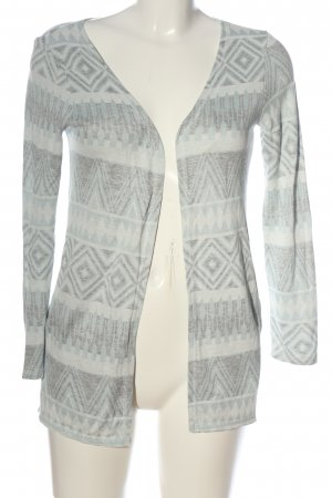 Only One Strick Cardigan weiß-hellgrau grafisches Muster Casual-Look