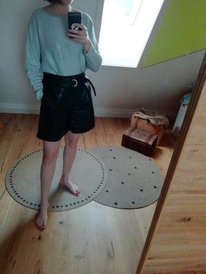 Only Pantalón corto de talle alto negro-color plata