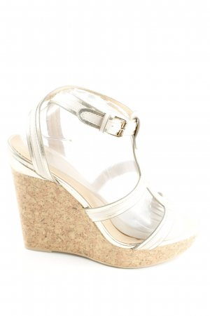 Only Pink Wedges Sandaletten goldfarben-weiß Casual-Look
