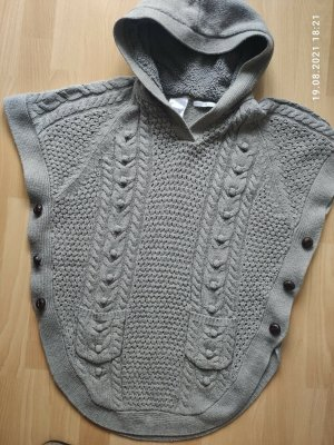 Only Poncho en tricot gris