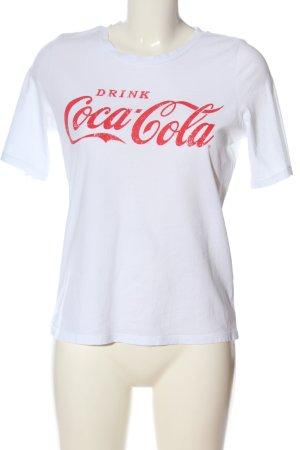 Only Print-Shirt weiß-rot Schriftzug gedruckt Casual-Look
