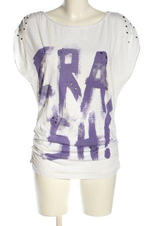 Only Print-Shirt weiß-lila Schriftzug gedruckt Casual-Look
