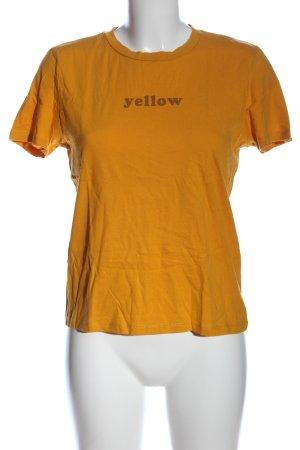 Only Print-Shirt hellorange-braun Schriftzug gedruckt Casual-Look