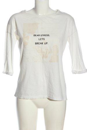 Only Print-Shirt weiß-schwarz Schriftzug gedruckt Casual-Look