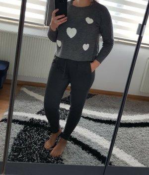 Only Pullover mit Herzen aus Frottee Dunkelgrau meliert Gr. L (40) NEU €35,-